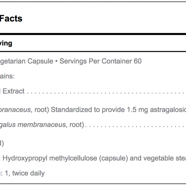 Astragalus ingredient list