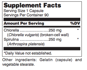 Chlorella ingredients label
