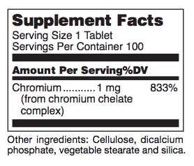 Chromium ingredients label