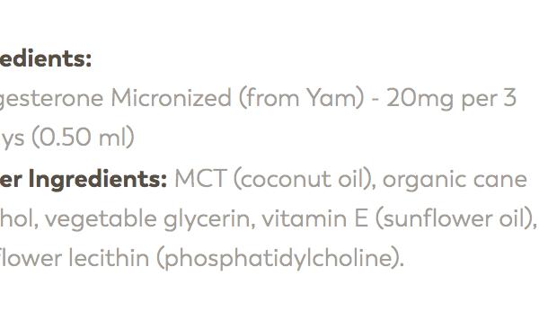 transdermal progesterone ingredients