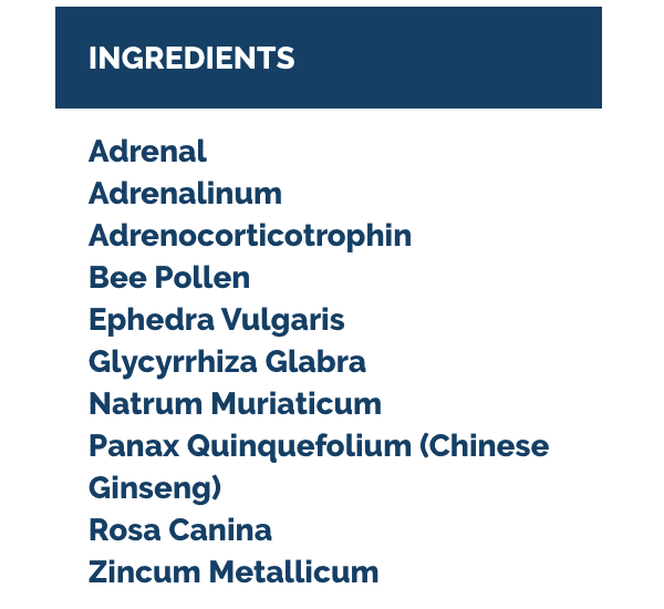 Adrenal liquescence ingredients