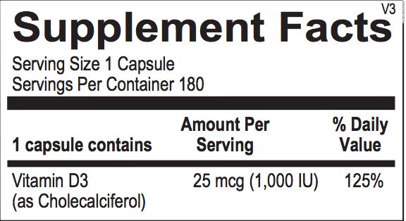Vitamin D 1000 label