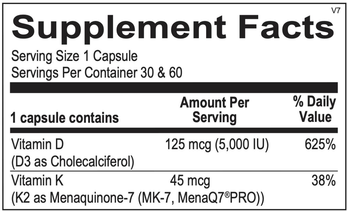 Vit K2 with D3 ingredients