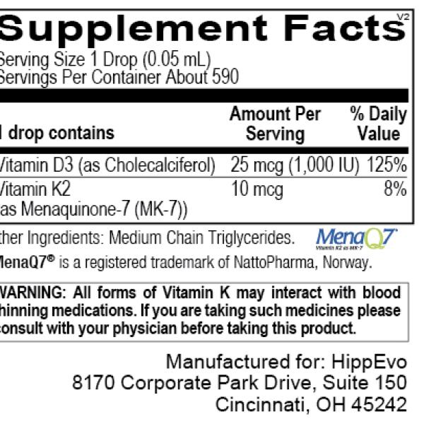 Liquid D3 with K2 ingredients