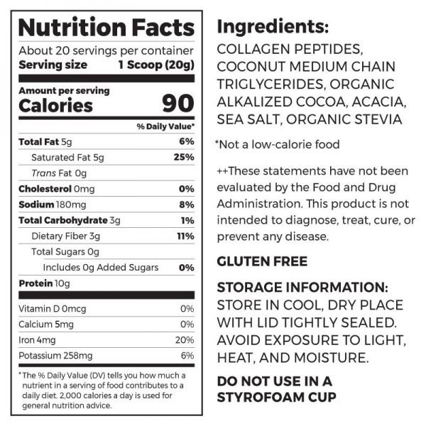 Orgain KETO choc ingredients