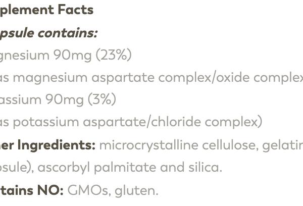 Magnesium Potassium ingredients